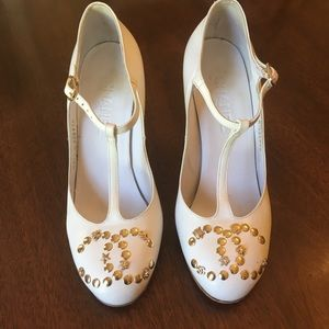 CHANEL Lucky Charms CC Logo White Mary Jane Wedge